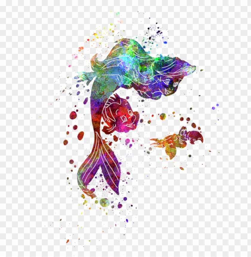free PNG bleed area may not be visible - little mermaid watercolor PNG image with transparent background PNG images transparent