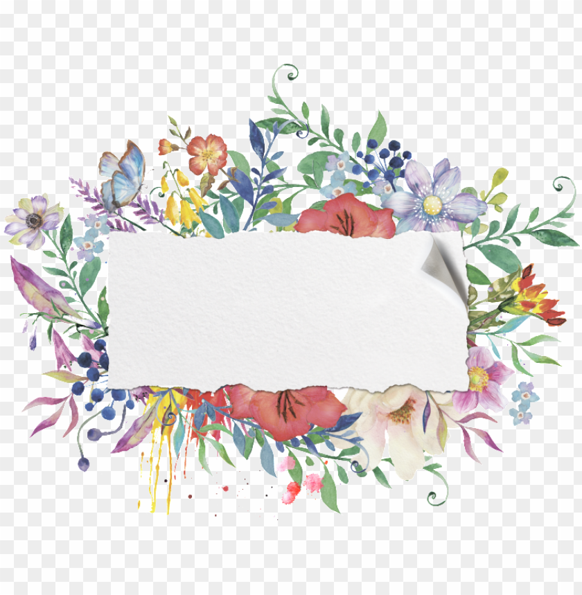 free PNG blue and blue flower frame transparent decorative - watercolor flower frame free PNG image with transparent background PNG images transparent