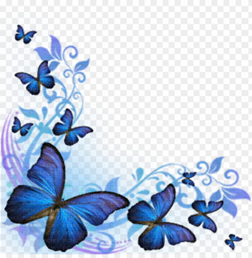 Blue Butterflies Corner Blue Butterfly Border Desi Png Image With Transparent Background Toppng,Simple Latest Mangalsutra Designs In Gold
