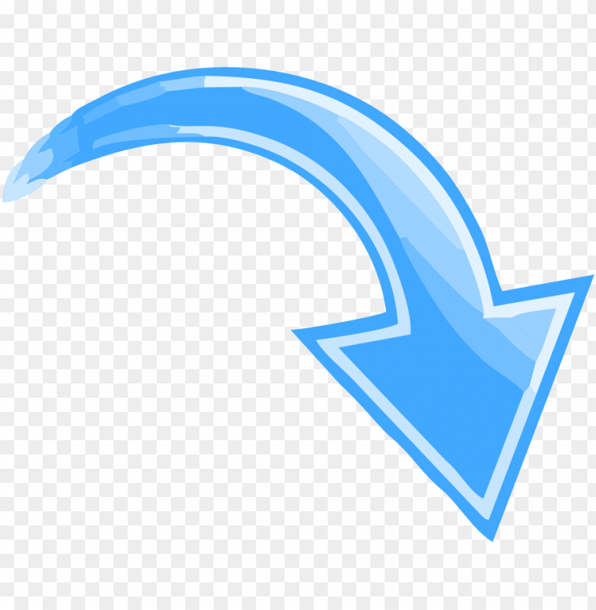 free PNG blue curved arrow pointing down right - arrow pointing down right PNG image with transparent background PNG images transparent