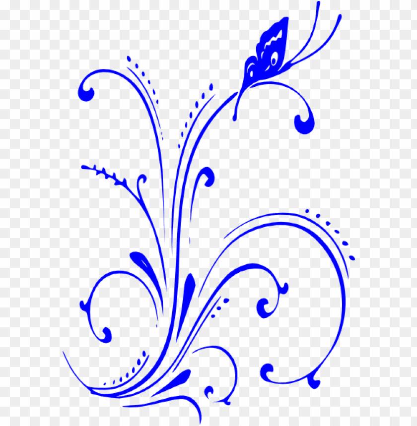 free PNG blue flower clipart blue scroll - royal blue wedding border PNG image with transparent background PNG images transparent