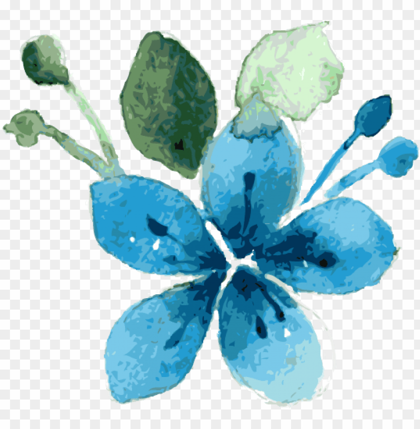 free PNG blue flower watercolor by zerrineart - blue floral watercolor PNG image with transparent background PNG images transparent