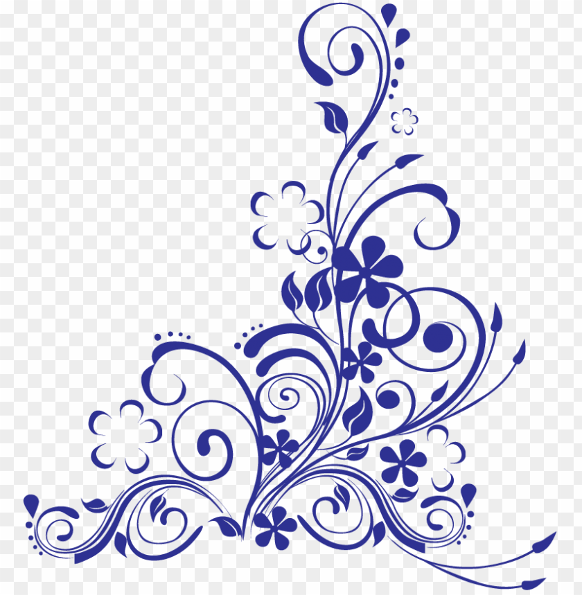 free PNG blue swirl w flowers - blue wedding border PNG image with transparent background PNG images transparent