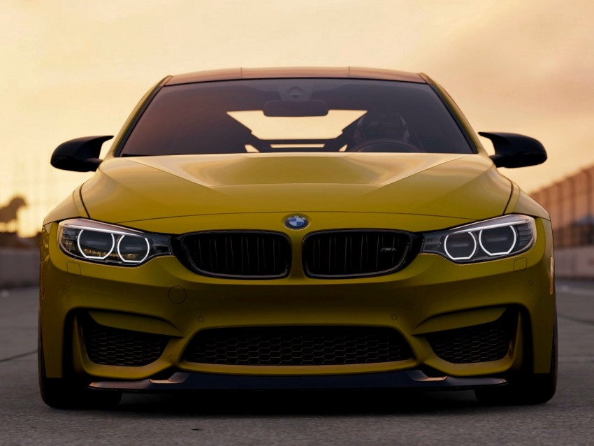 free PNG bmw m4 gts, bmw m4, bmw, front view, yellow, auto background PNG images transparent