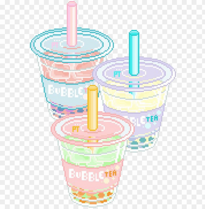 Boba Sticker Aesthetic Pastel Bubble Tea Png Image With