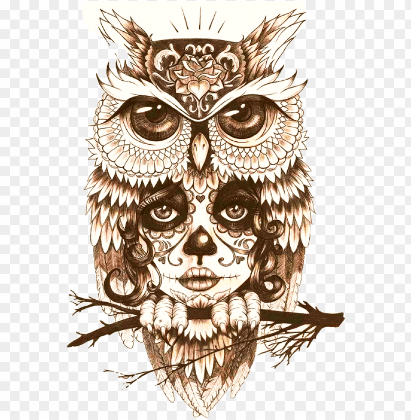 Body Owl Art Tattoo Mystic Drawing Clipart Owl Tattoo Black And White Png Image With Transparent Background Toppng