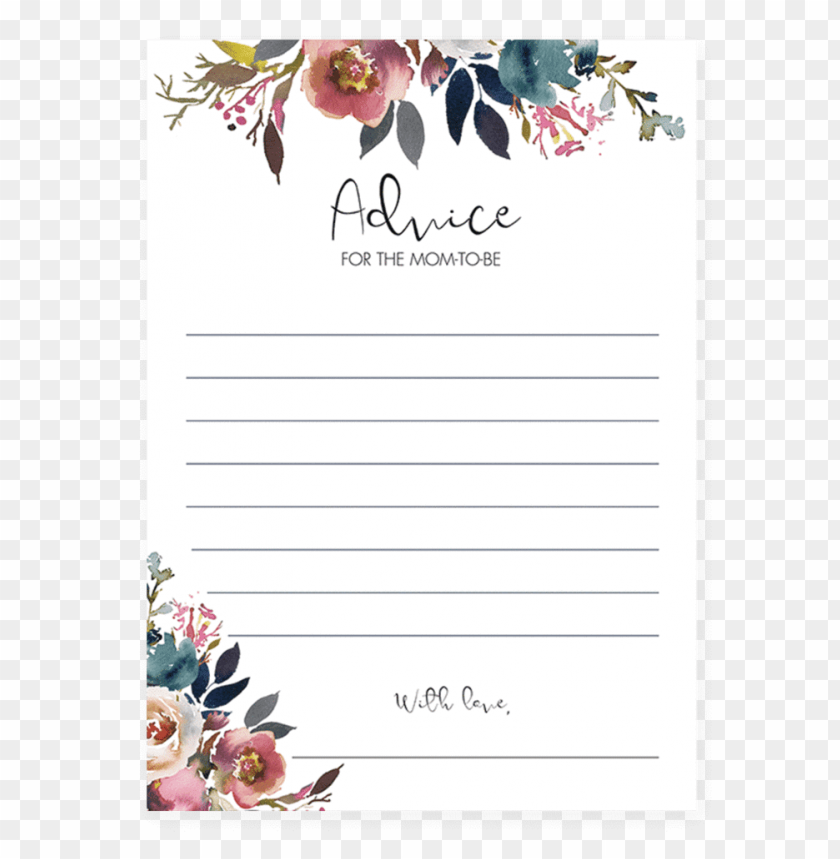 free PNG boho baby shower mommy advice card printable by littlesizzle - advice for the mom PNG image with transparent background PNG images transparent