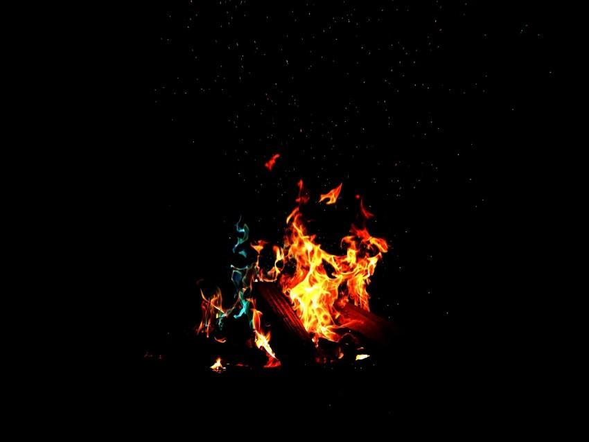 free PNG bonfire, fire, firewood, sparks, dark, light, camping background PNG images transparent