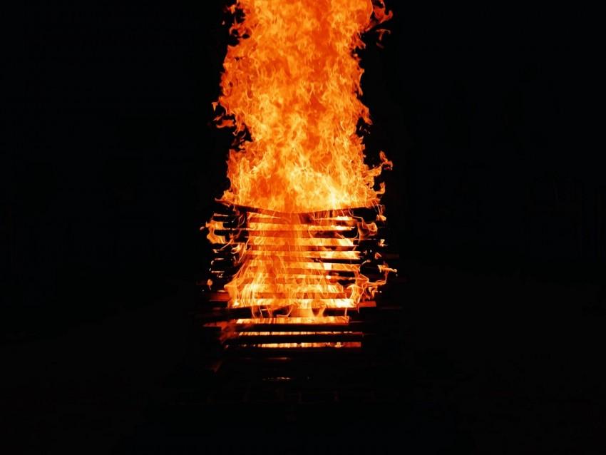 free PNG bonfire, fire, flame, burning, dark background PNG images transparent