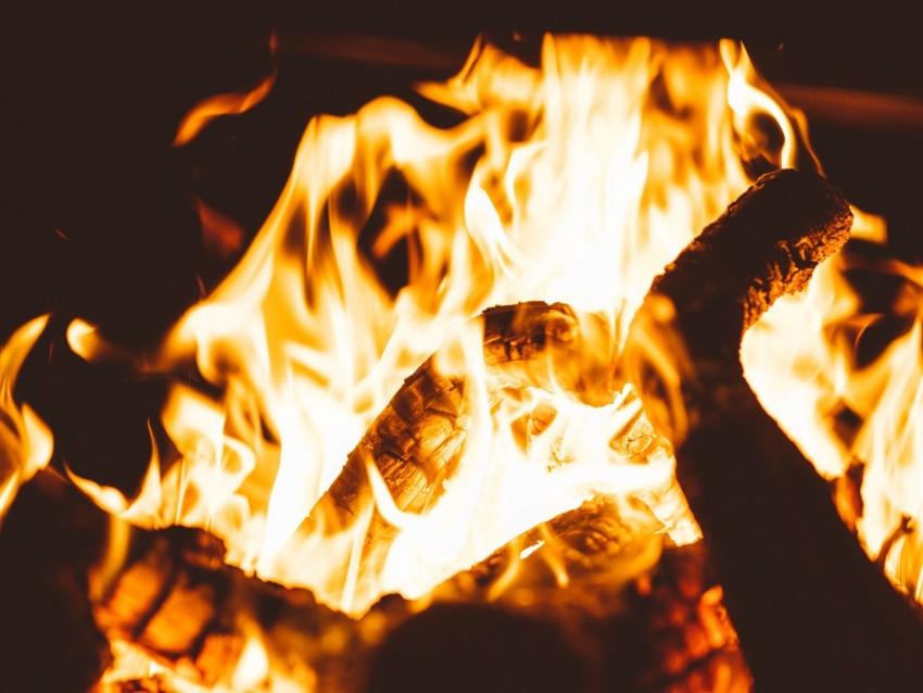 free PNG bonfire, fire, flame, firewood, dark, blur background PNG images transparent