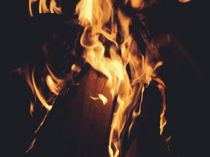 free PNG bonfire, firewood, fire, flame, dark background PNG images transparent
