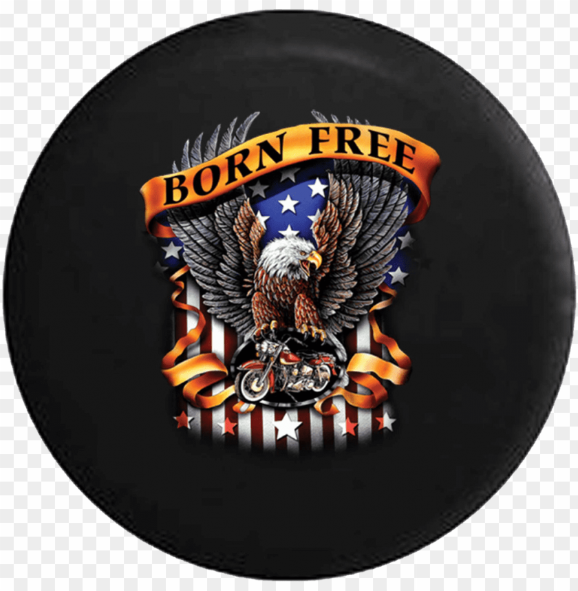 born free american bald eagle flag motorcycle jeep - american biker t shirts PNG image with transparent background@toppng.com