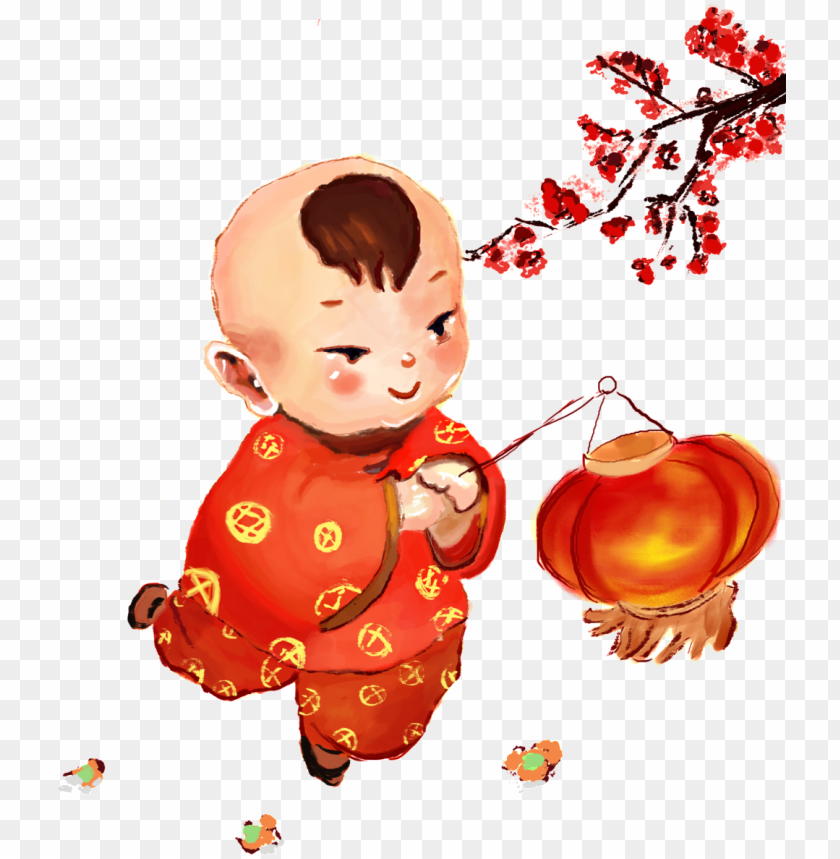 free PNG boy carrying a lantern about the lantern festival vector,plum,chinese - 卡通 小孩 提 灯笼 过 春节 PNG image with transparent background PNG images transparent
