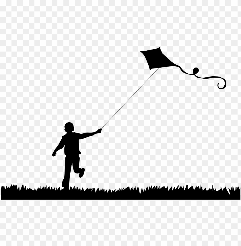 free PNG boy flying kite silhouette - boy flying kite silhouette PNG image with transparent background PNG images transparent