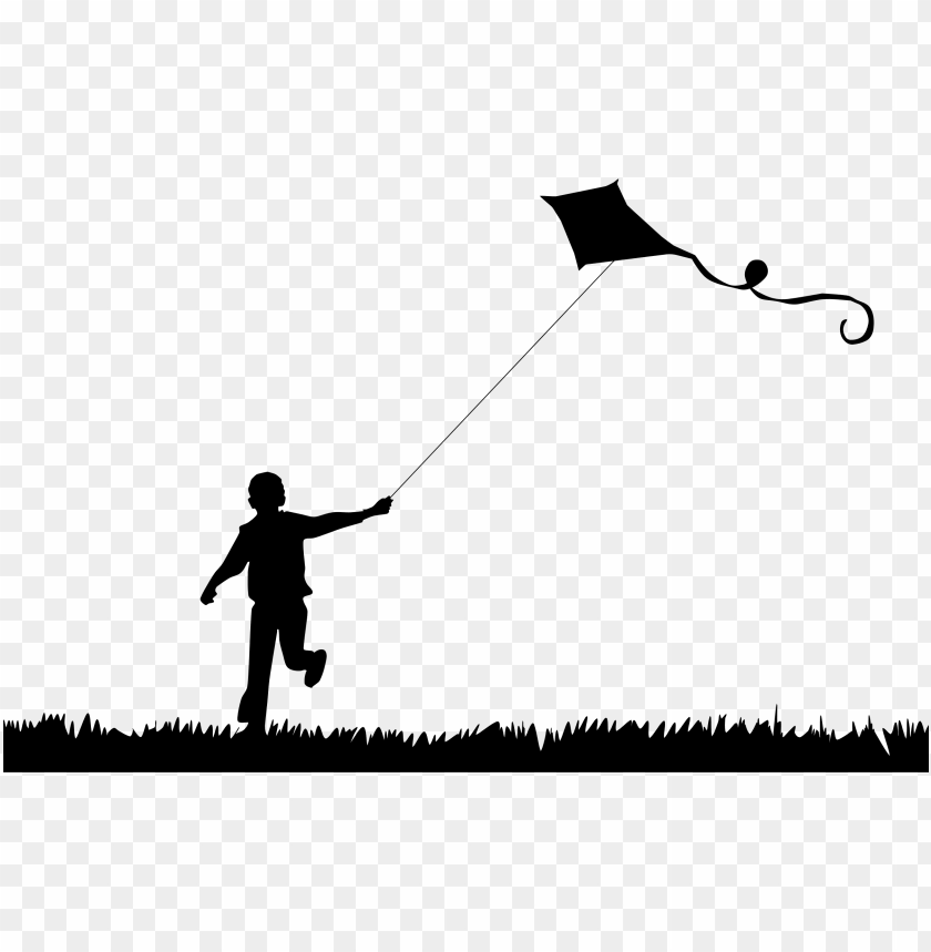 free PNG boy flying kite silhouette - flying a kite silhouette PNG image with transparent background PNG images transparent