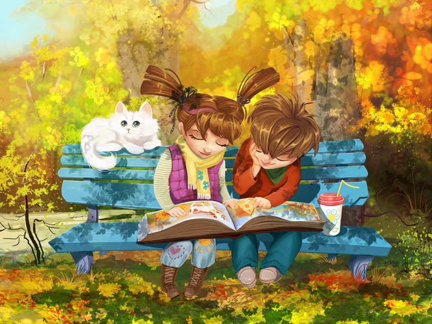 free PNG boy, girl, cat, bench, park, cute background PNG images transparent