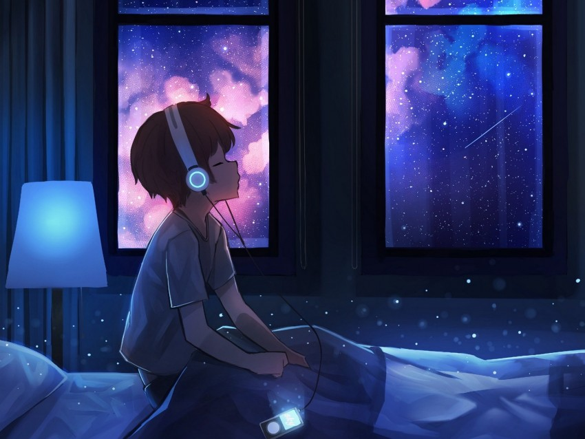 Boy Night Headphones Starry Sky Art Background Toppng