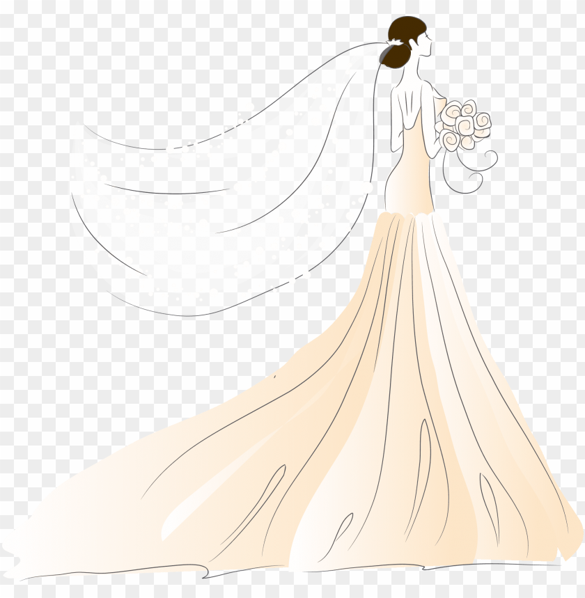 free PNG bride contemporary western wedding dress - wedding dress vector PNG image with transparent background PNG images transparent