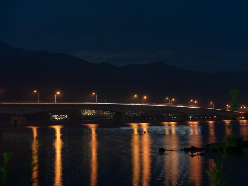 free PNG bridge, night city, city lights, lights, lighting background PNG images transparent