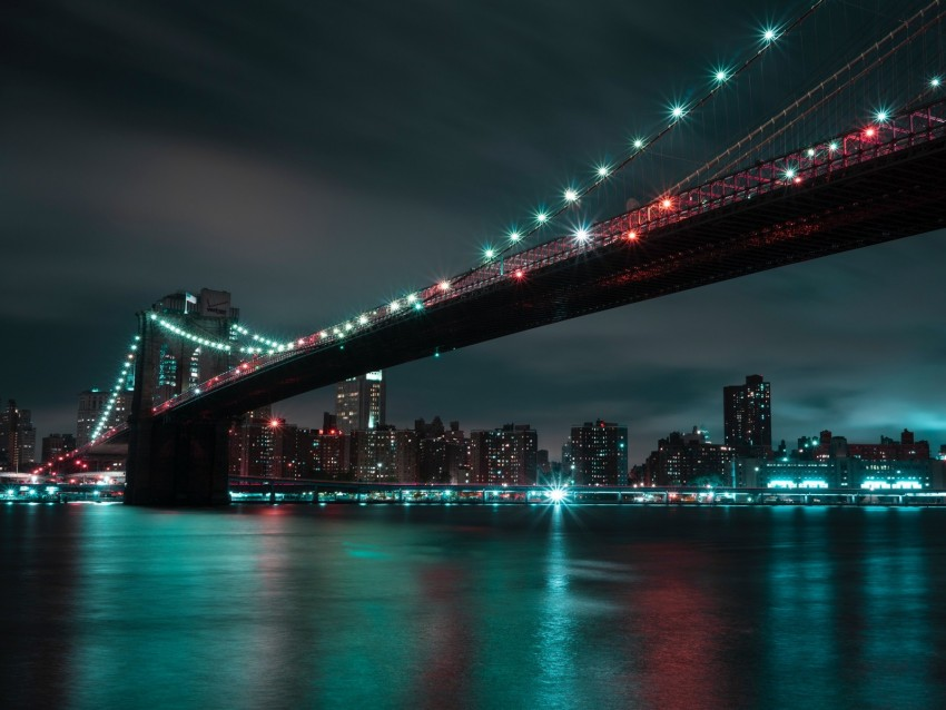 free PNG bridge, night city, lights, city lights, brooklyn, usa background PNG images transparent