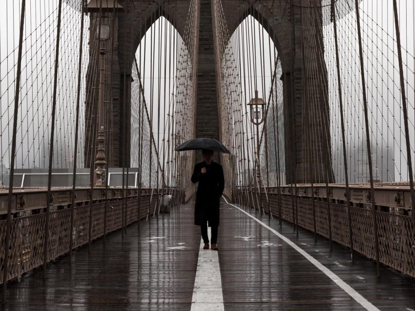 free PNG bridge, umbrella, man, silhouette, lonely, design background PNG images transparent
