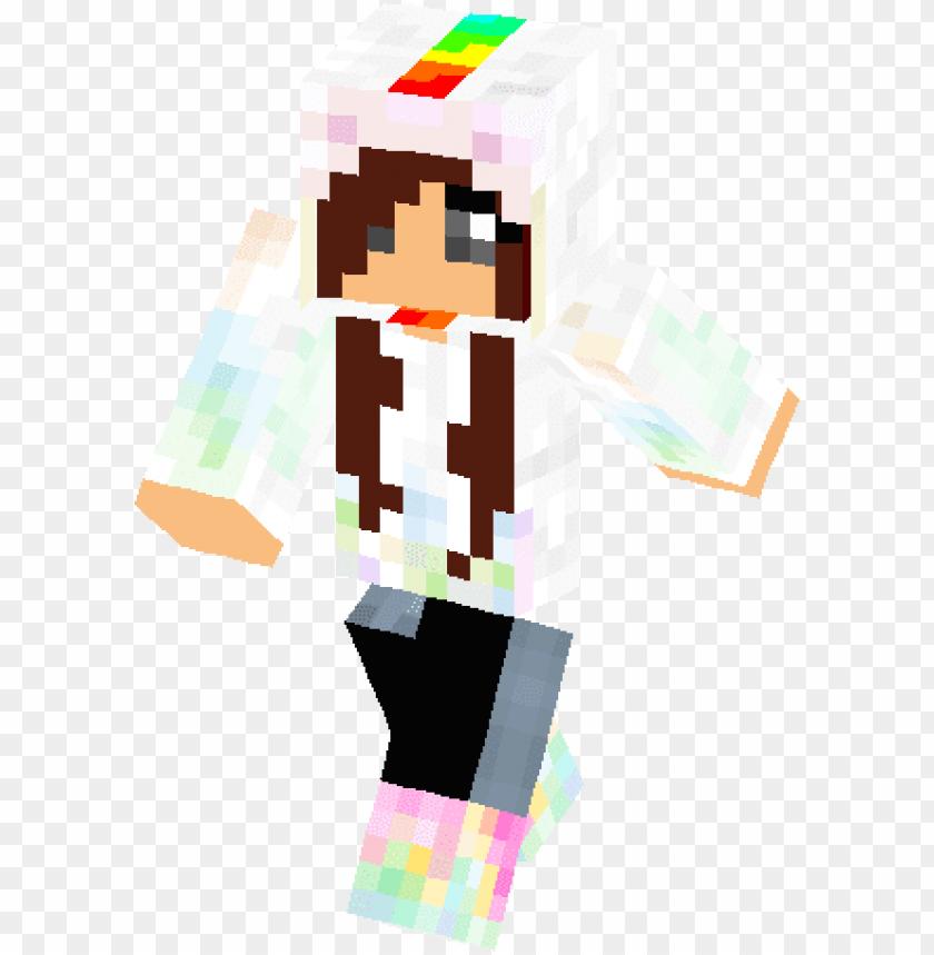 Bright Rainbow Unicorn Girl Skin Rainbow Unicorn Skin