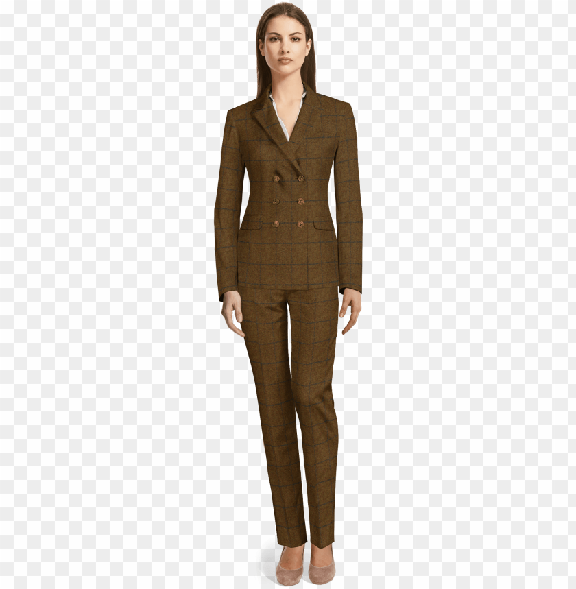 free PNG brown double breasted checked tweed pant suit - red velvet suit women's PNG image with transparent background PNG images transparent
