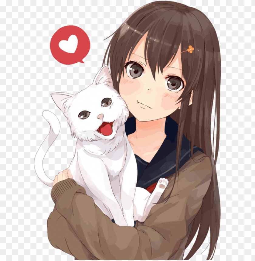 Brown Hair Anime Catgirl Drawing Anime Girl With Cat Png Image With Transparent Background Toppng