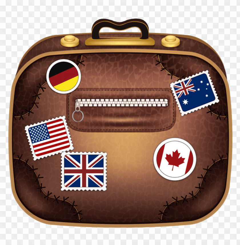free PNG Download brown suitcase with flagspicture clipart png photo   PNG images transparent