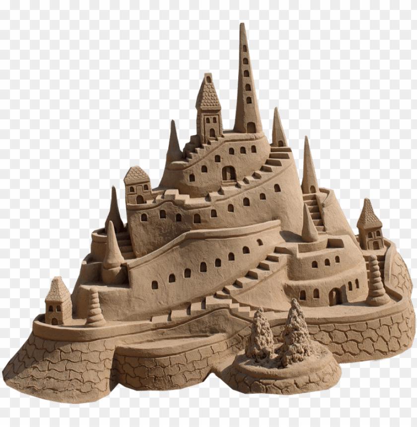 free PNG brown tan sandcastle sand beach polyvore moodboard - transparent sand castle PNG image with transparent background PNG images transparent