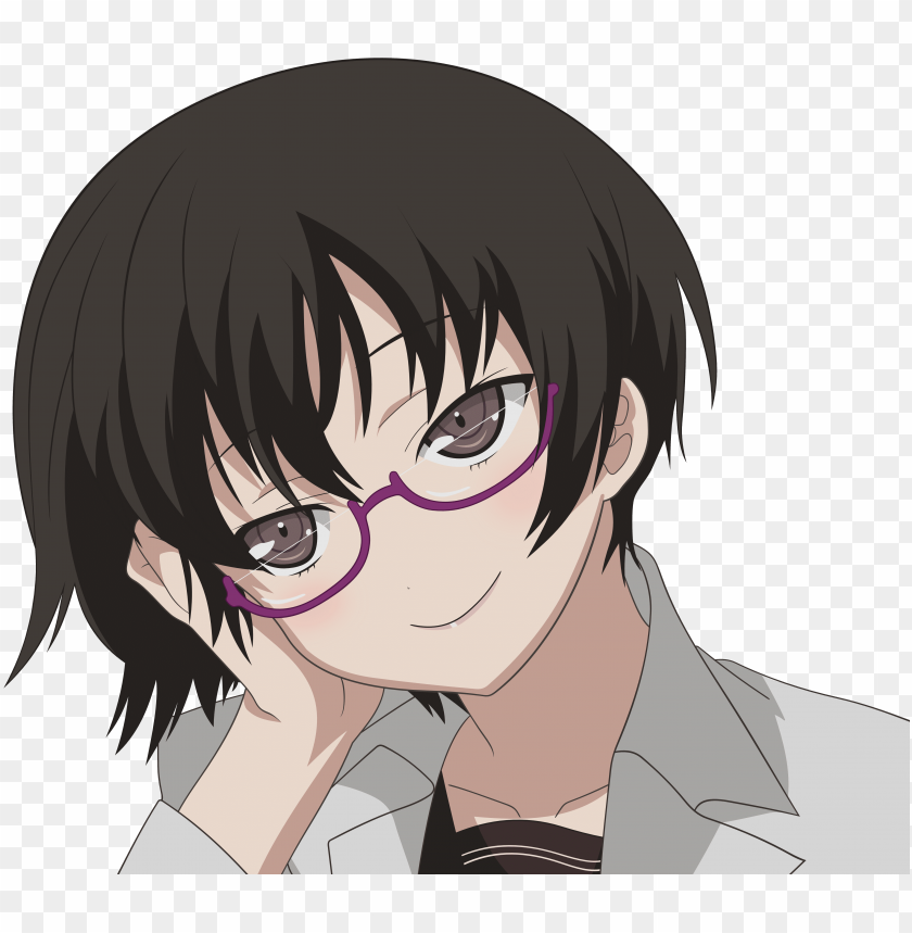 free PNG brunettes, glasses, brown eyes, transparent, meganekko, - short hair anime girl with brown hair glasses PNG image with transparent background PNG images transparent
