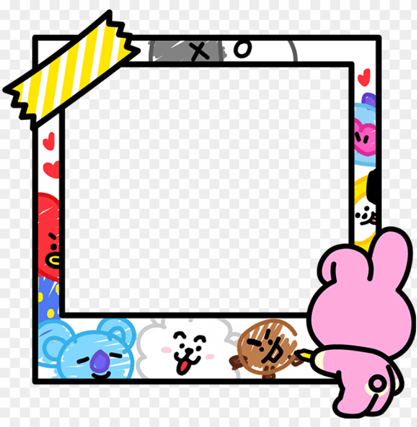 bt21 bts sticker cute kook love pink line camera frame