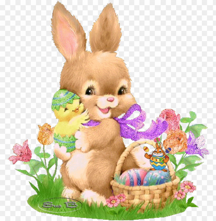 Bunny Hold Chick Cute Easter Bunny Png Image With Transparent