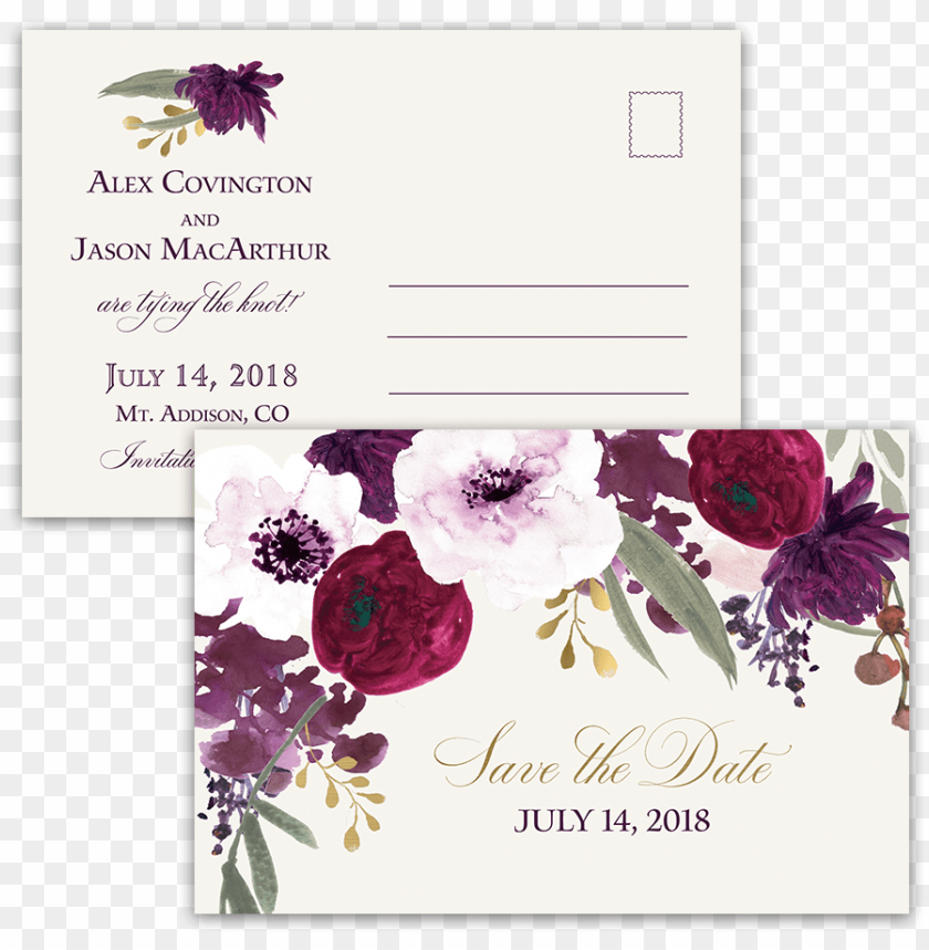 free PNG burgundy and gold floral boho postcard save the date - burgundy plum floral watercolor PNG image with transparent background PNG images transparent
