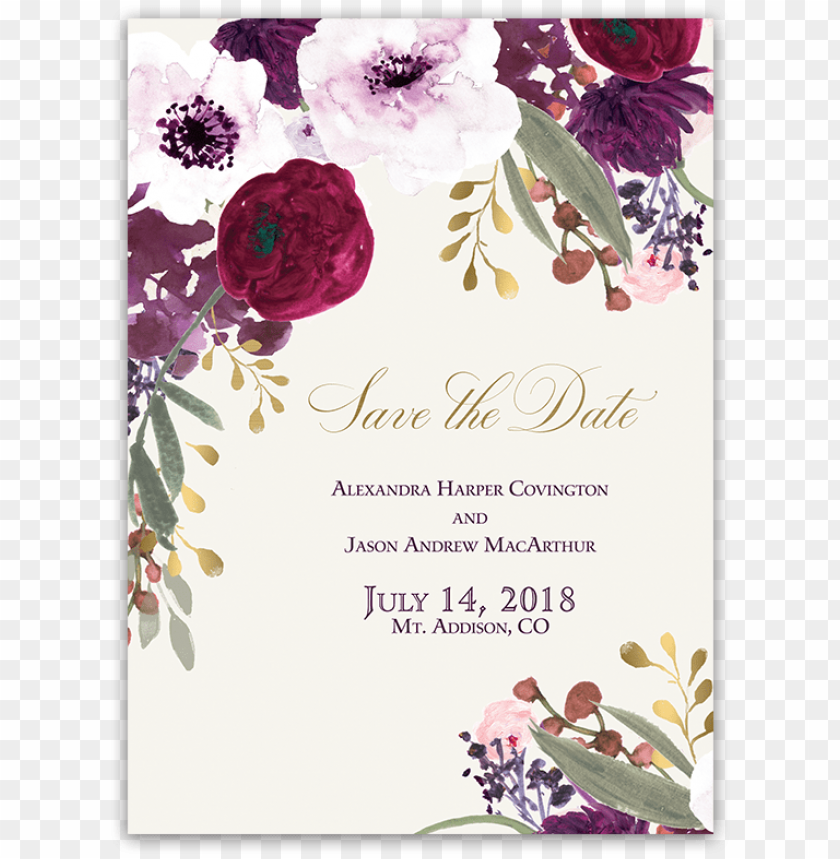 free PNG burgundy and gold floral boho wedding save the date - blush floral wedding invitatio PNG image with transparent background PNG images transparent