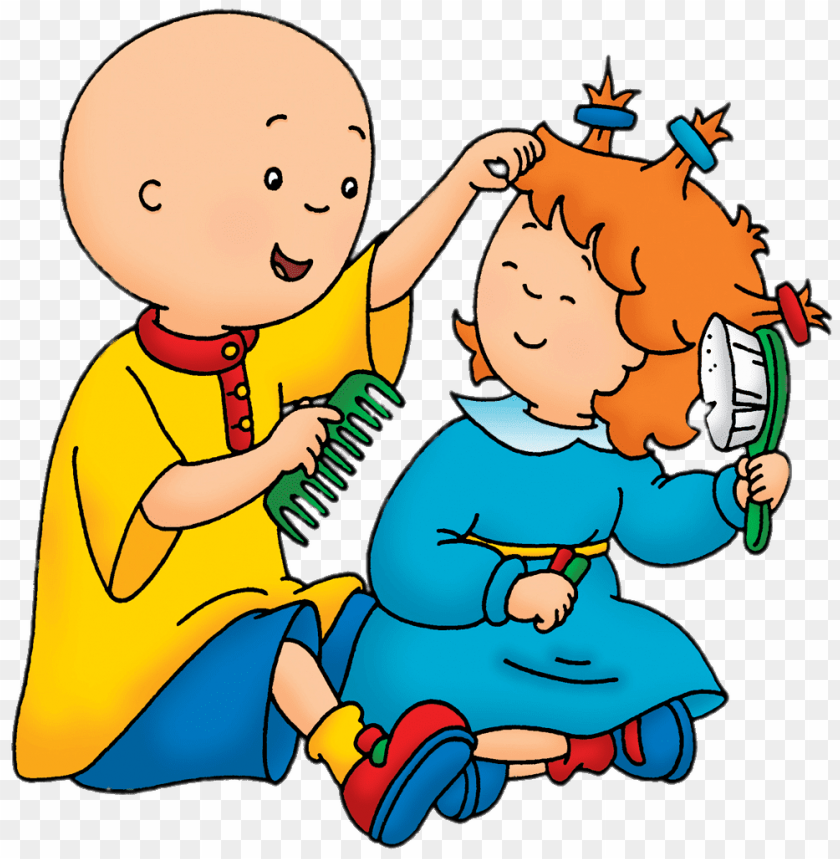 free PNG Download caillou playing hairdresser with rosie clipart png photo   PNG images transparent