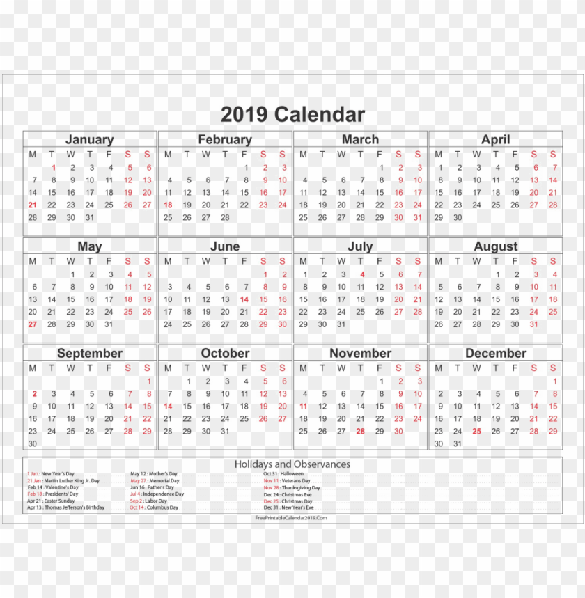 Calendar Png Image Hd Coloring Pages Kalender Pdf Indonesia Free Printable 2019 Calendar With Holidays Png Image With Transparent Background Toppng