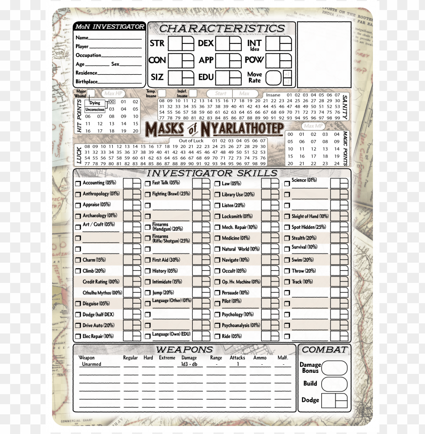 free PNG call of cthulhu 7th edition masks of nyarlathotep sheet - call of cthulhu 7th edition character sheet PNG image with transparent background PNG images transparent