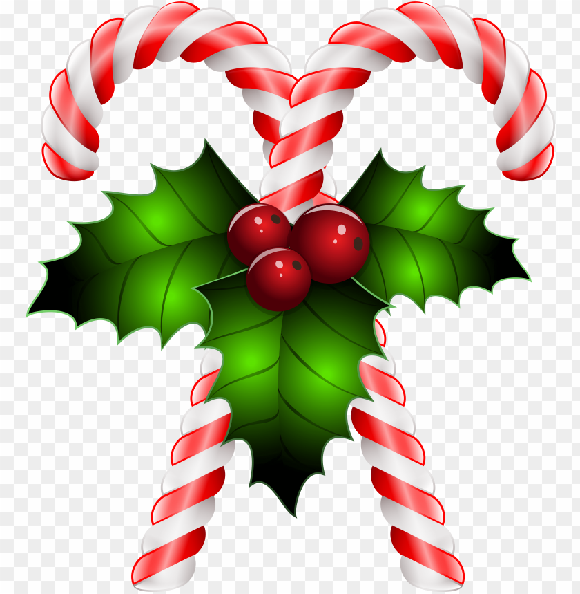 free PNG candy canes with holly transparent png clip art image - candy canes and holly PNG image with transparent background PNG images transparent