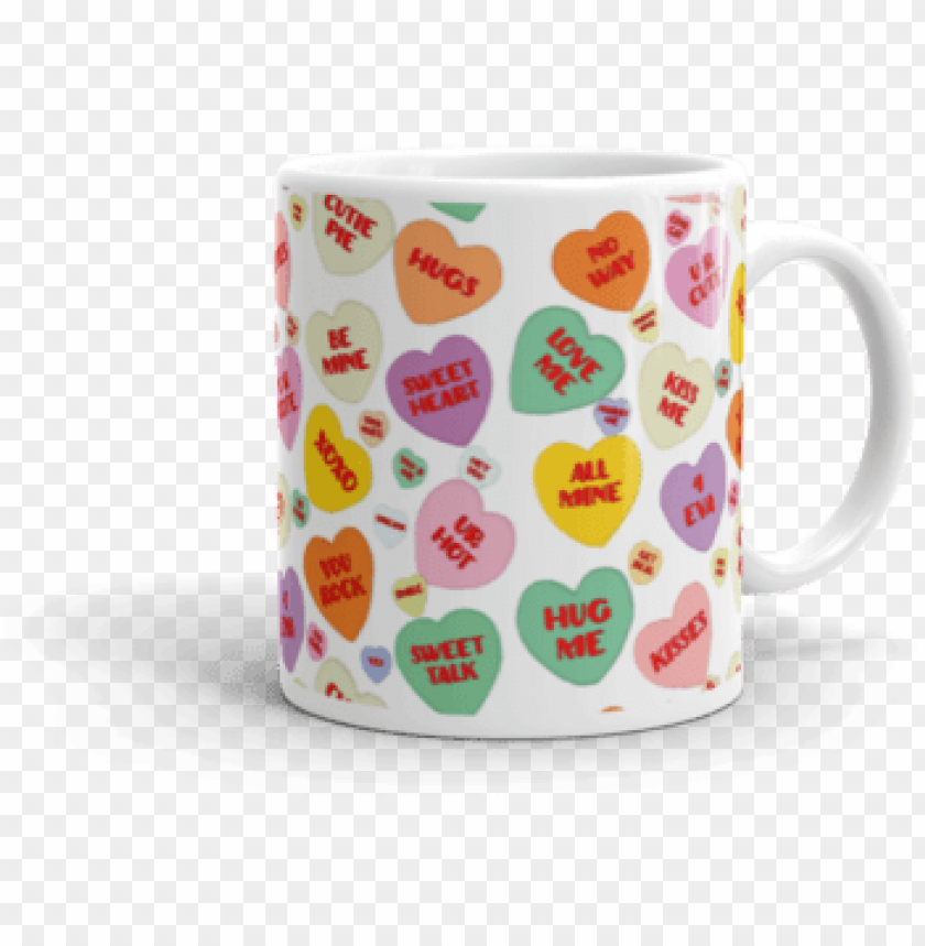 free PNG candy conversation hearts mug - mu PNG image with transparent background PNG images transparent