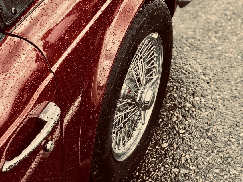 free PNG car, red, wet, wheel, chrome background PNG images transparent