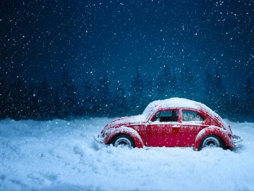 car, retro, winter, snow, snowfall, vintage, red, old background@toppng.com