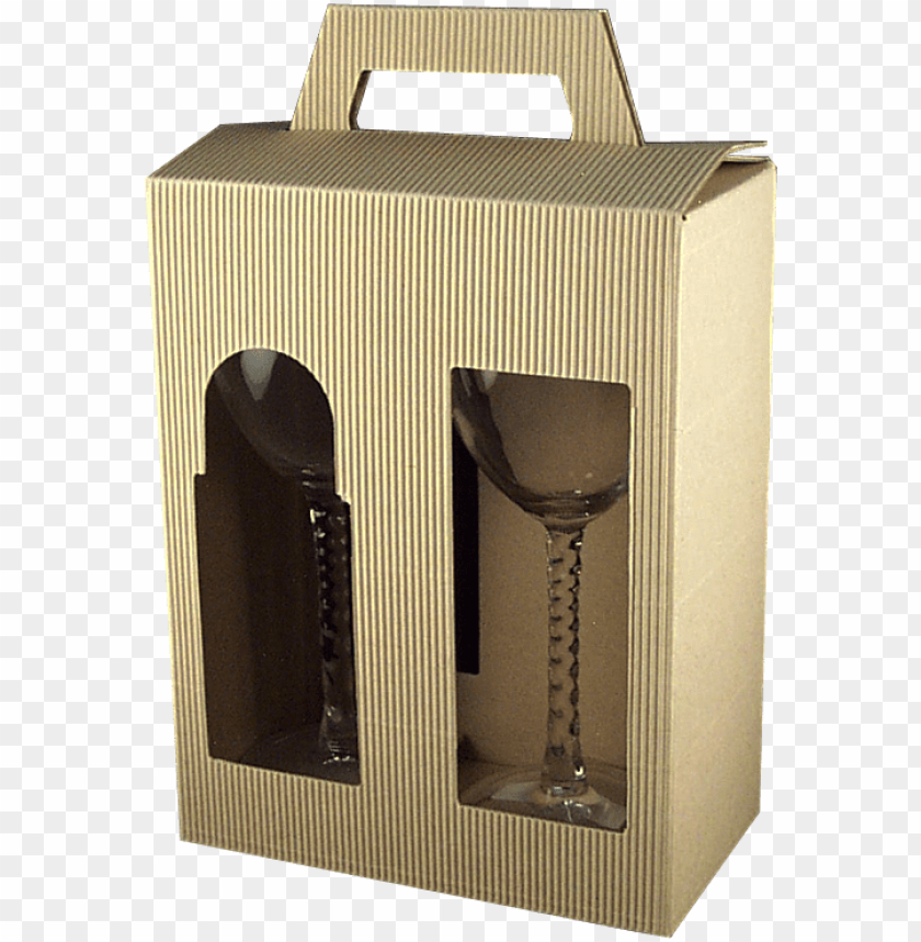 free PNG cardboard gift box for two glasses - champagne stemware PNG image with transparent background PNG images transparent