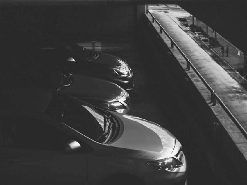 free PNG cars, bw, dark, parking, monochrome background PNG images transparent