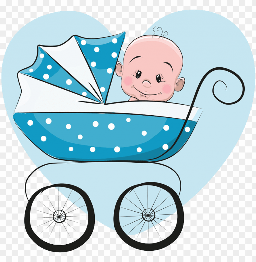 Cartoon Infant Illustration Cartoon Baby In Stroller Png Image With Transparent Background Toppng