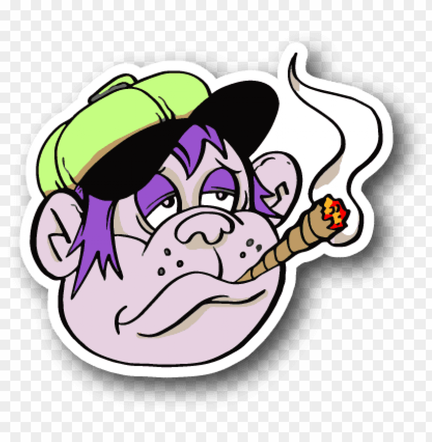 free PNG cartoon monkey smoking joint sticker - cartoon monkey smoking weed PNG image with transparent background PNG images transparent