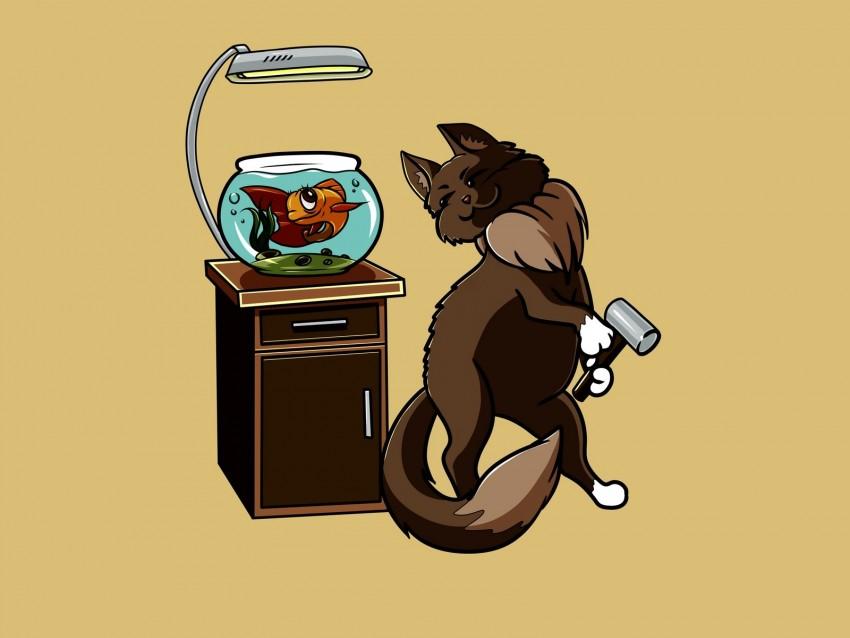 free PNG cat, fish, aquarium, funny, art, friends background PNG images transparent