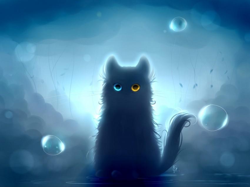 free PNG cat, heterochromia, black cat, art background PNG images transparent