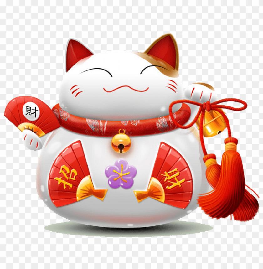 free PNG cat luckycat chinese japanese asian neko maneki neko - 财 PNG image with transparent background PNG images transparent