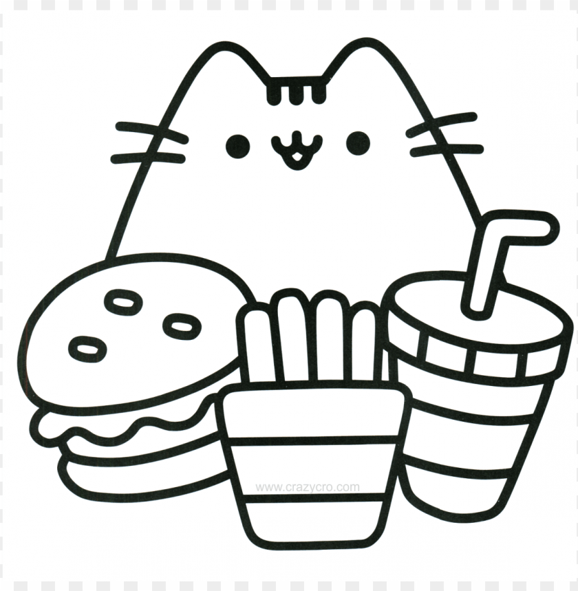 Cat With Food Coloring Page Mini Pusheen Coloring Book Png Image